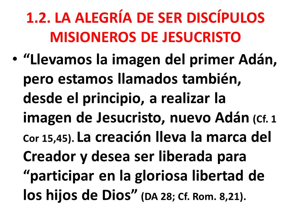 1.2. LA ALEGRÍA DE SER DISCÍPULOS MISIONEROS DE JESUCRISTO