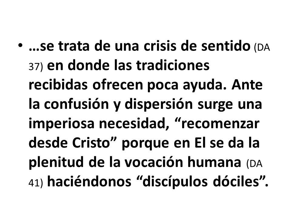 …se trata de una crisis de sentido (DA 37) en donde las tradiciones recibidas ofrecen poca ayuda.
