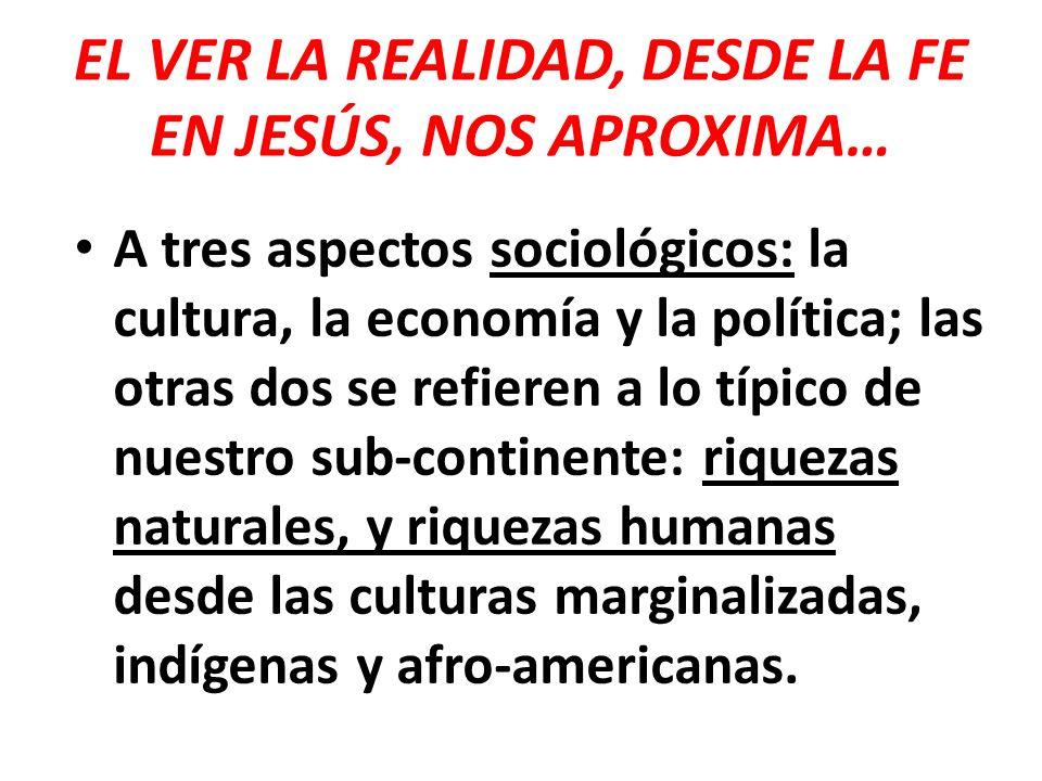 EL VER LA REALIDAD, DESDE LA FE EN JESÚS, NOS APROXIMA…