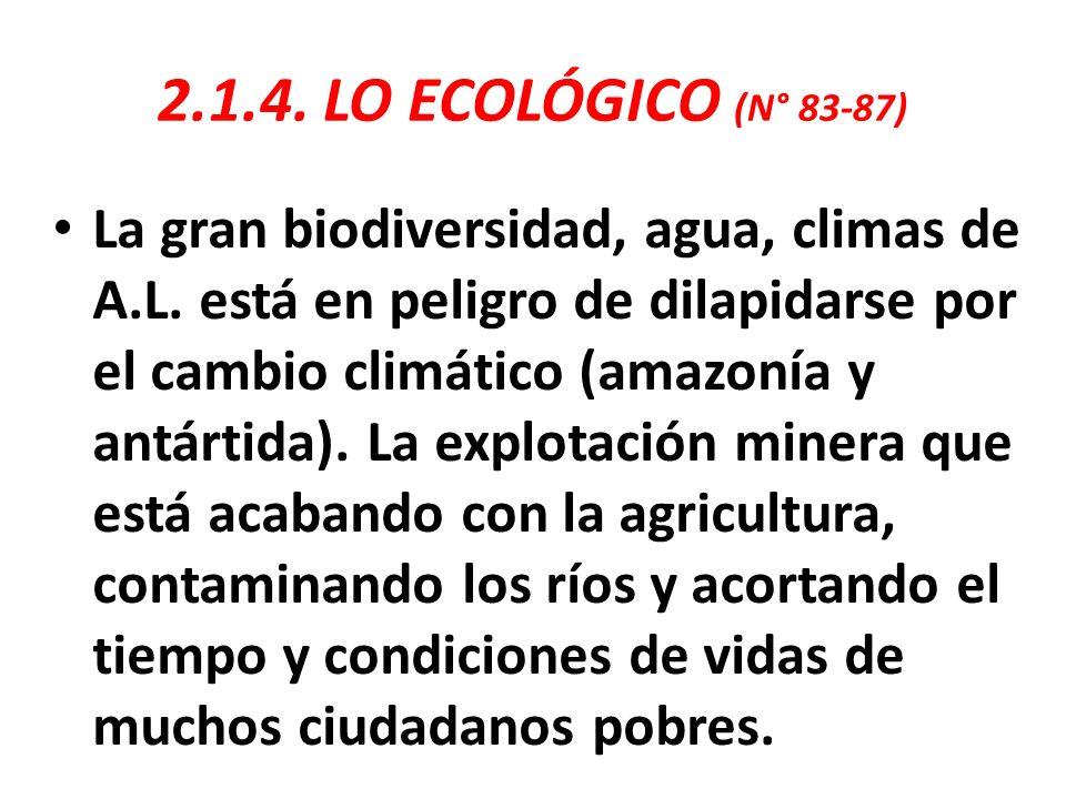 2.1.4. LO ECOLÓGICO (N° 83-87)