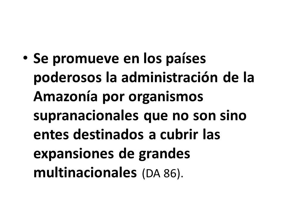 Se promueve en los países poderosos la administración de la Amazonía por organismos supranacionales que no son sino entes destinados a cubrir las expansiones de grandes multinacionales (DA 86).