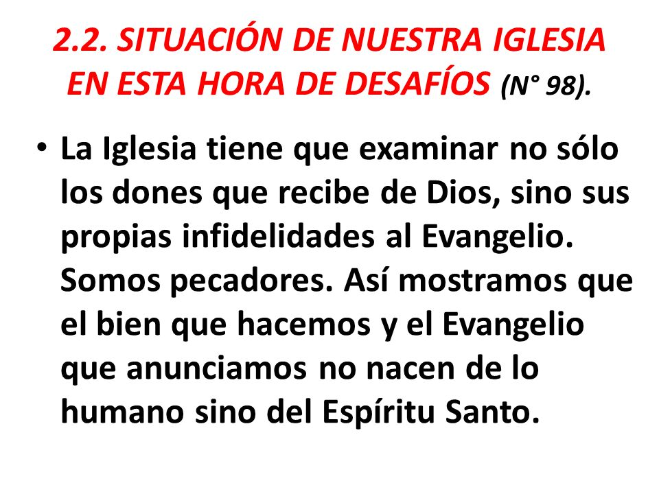 2.2. SITUACIÓN DE NUESTRA IGLESIA EN ESTA HORA DE DESAFÍOS (N° 98).