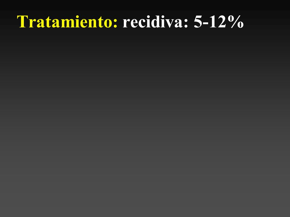 Tratamiento: recidiva: 5-12%