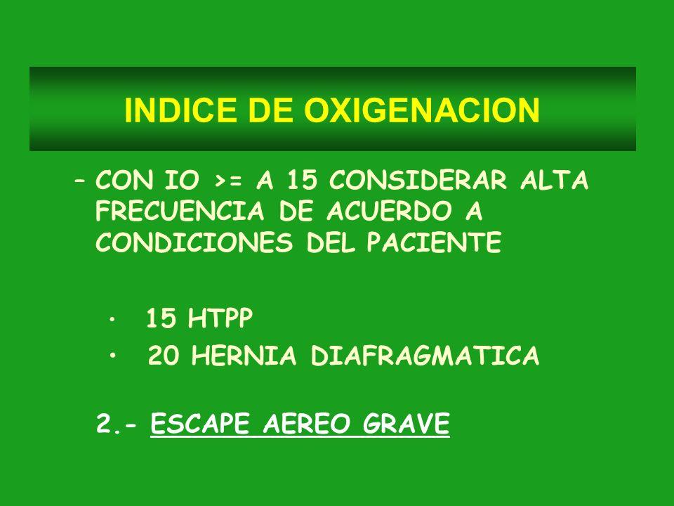 INDICE DE OXIGENACION CON IO >= A 15 CONSIDERAR ALTA FRECUENCIA DE ACUERDO A CONDICIONES DEL PACIENTE.