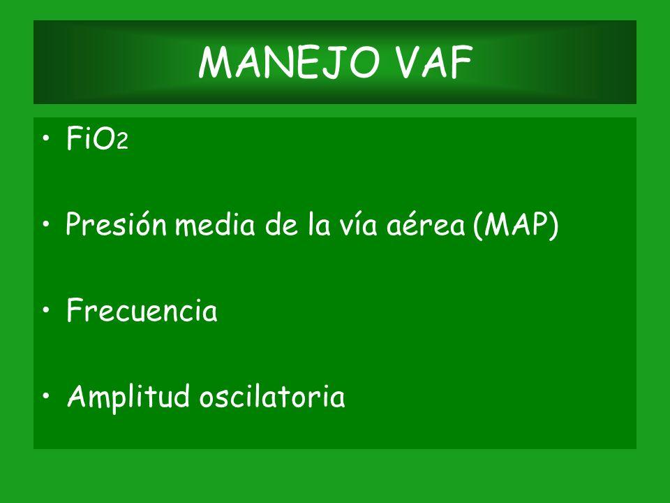 MANEJO VAF FiO2 Presión media de la vía aérea (MAP) Frecuencia