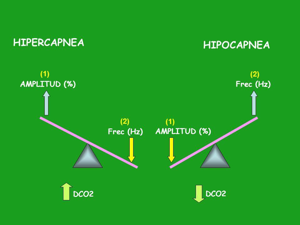 HIPERCAPNEA HIPOCAPNEA (1) (2) AMPLITUD (%) Frec (Hz) (2) (1)