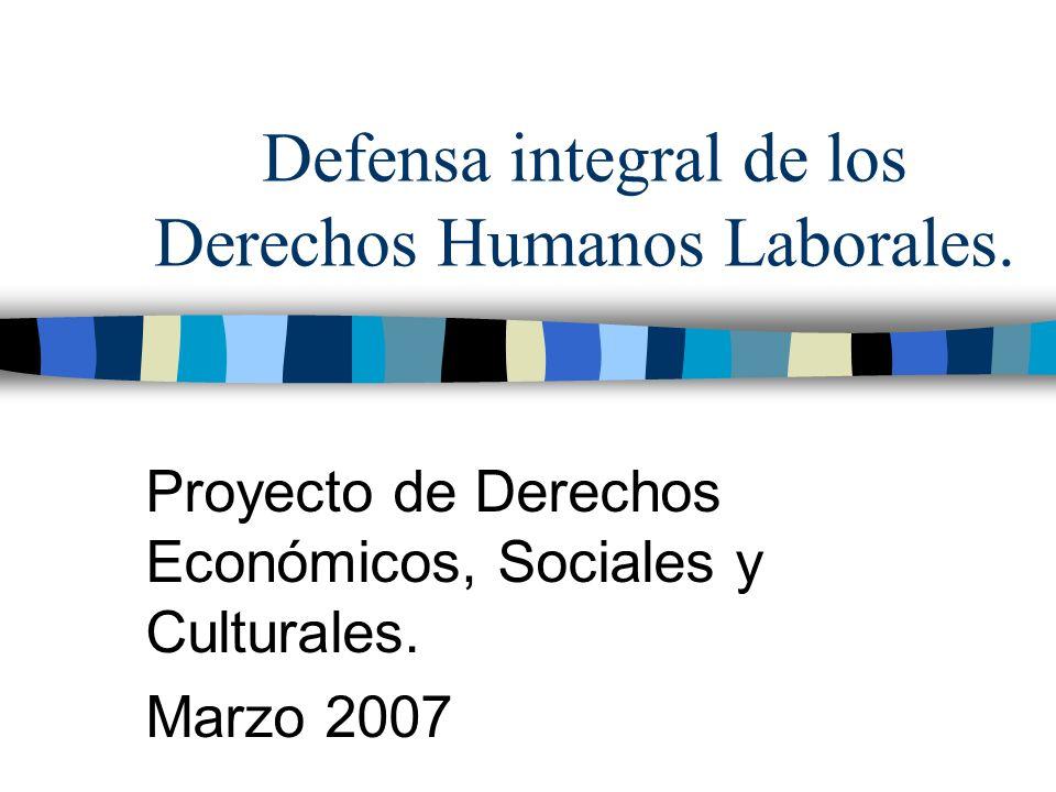 Defensa integral de los Derechos Humanos Laborales.