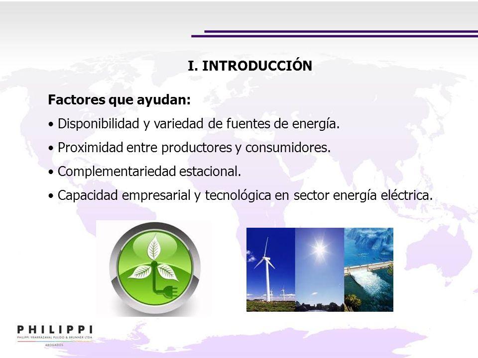 I. INTRODUCCIÓNFactores que ayudan: Disponibilidad y variedad de fuentes de energía. Proximidad entre productores y consumidores.