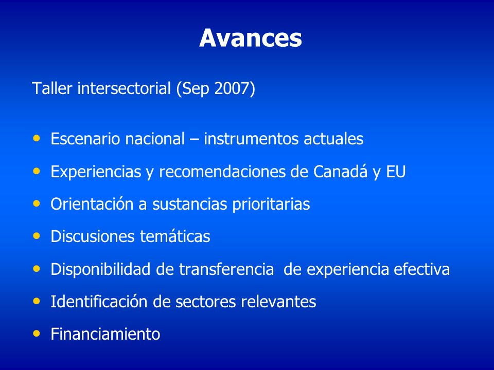 Avances Taller intersectorial (Sep 2007)