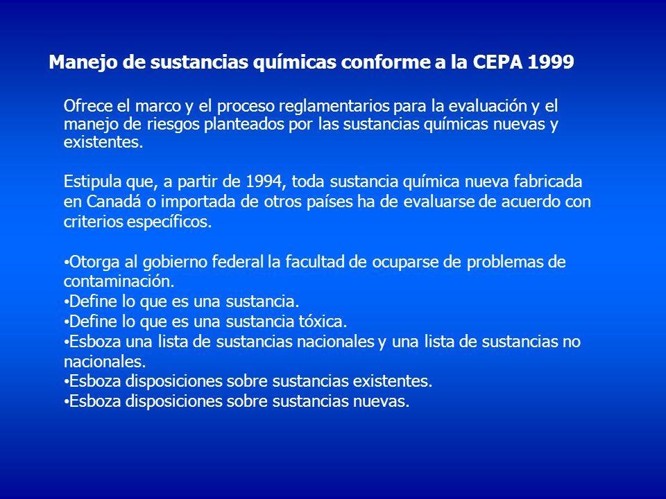 Manejo de sustancias químicas conforme a la CEPA 1999