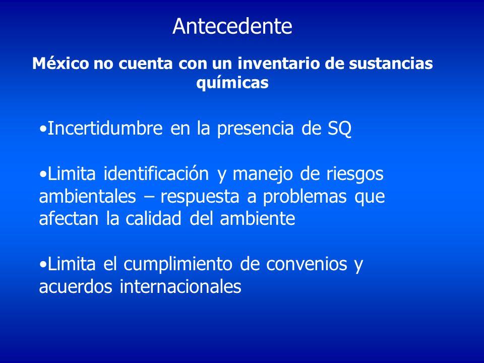 México no cuenta con un inventario de sustancias químicas