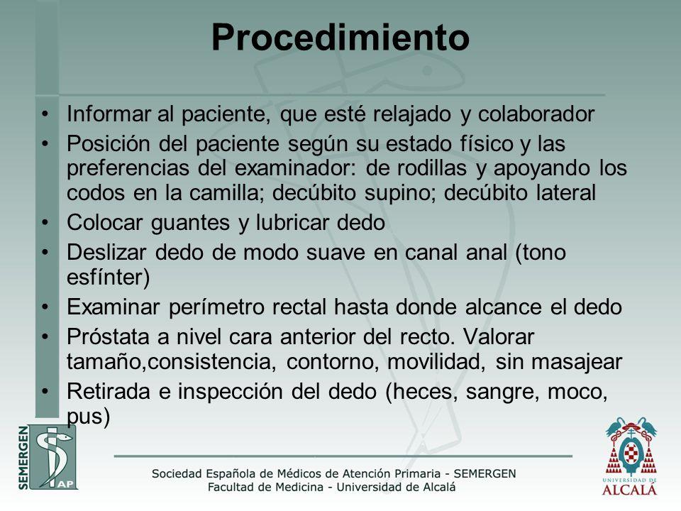 Procedimiento Informar al paciente, que esté relajado y colaborador