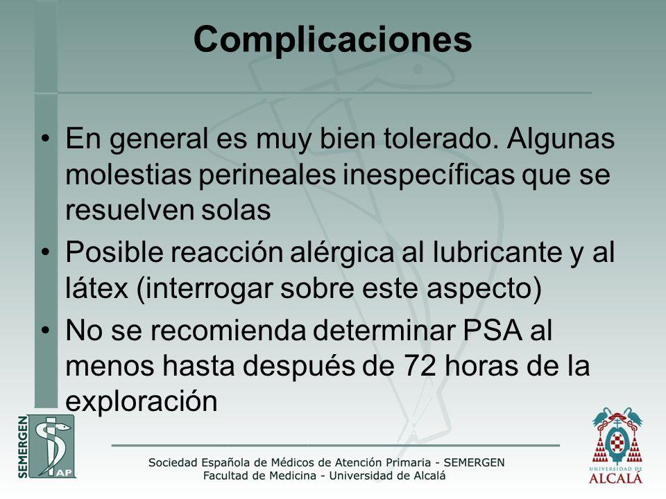Complicaciones En general es muy bien tolerado. Algunas molestias perineales inespecíficas que se resuelven solas.