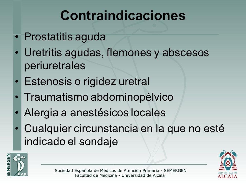 Contraindicaciones Prostatitis aguda