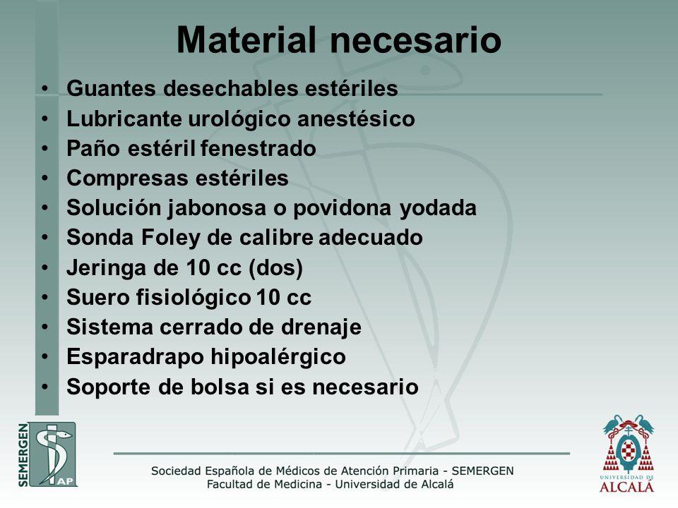 Material necesario Guantes desechables estériles