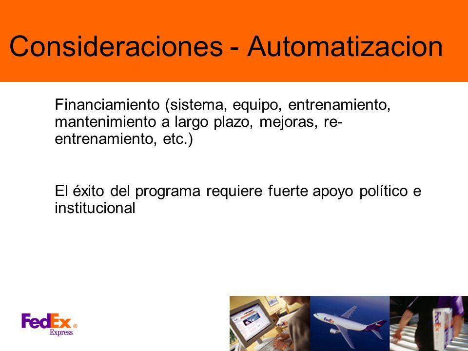 Consideraciones - Automatizacion