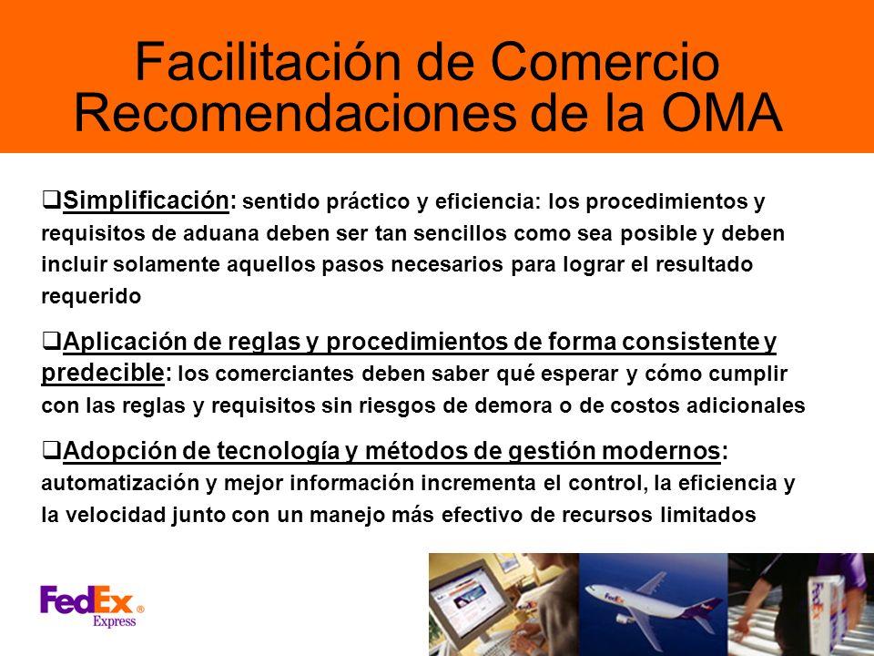 Facilitación de Comercio Recomendaciones de la OMA