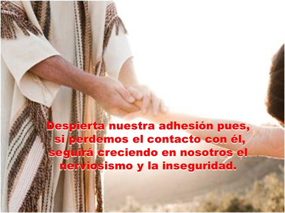 Despierta nuestra adhesión pues, si perdemos el contacto con él, seguirá creciendo en nosotros el nerviosismo y la inseguridad.