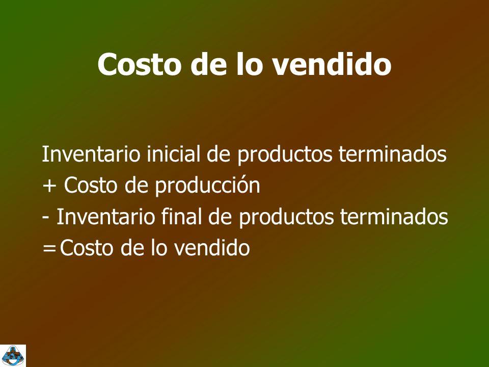 Costo de lo vendido Inventario inicial de productos terminados