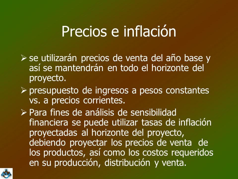 Precios e inflación se utilizarán precios de venta del año base y así se mantendrán en todo el horizonte del proyecto.