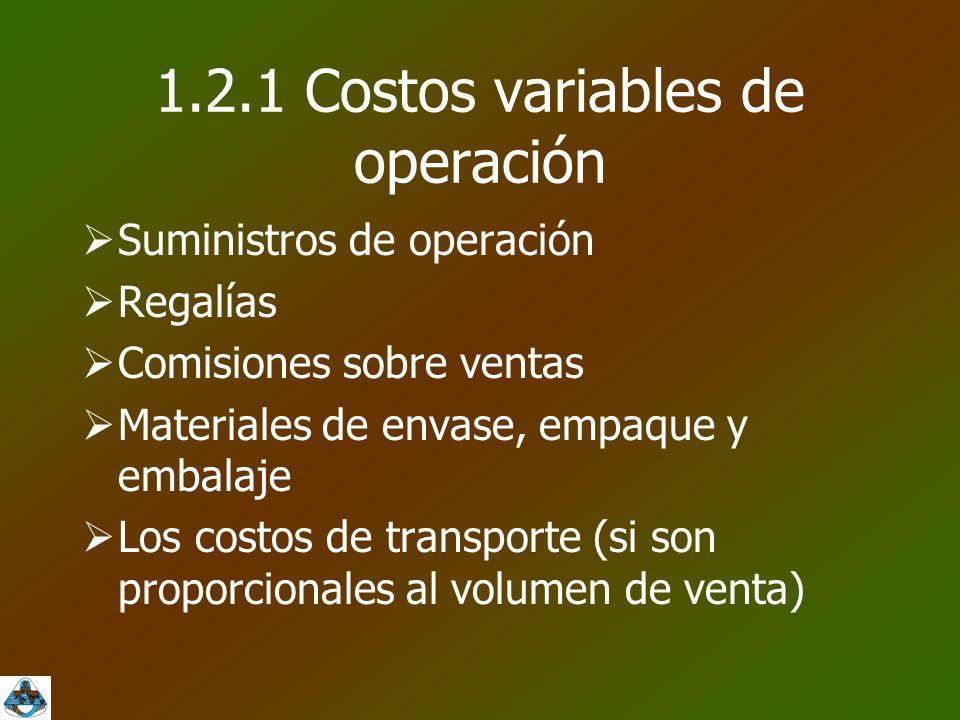1.2.1 Costos variables de operación