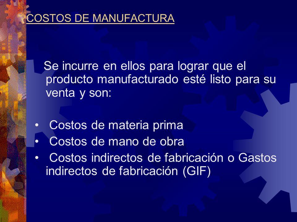 Costos de materia prima Costos de mano de obra