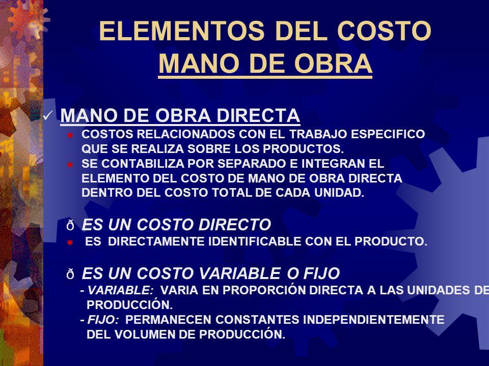 ELEMENTOS DEL COSTO MANO DE OBRA