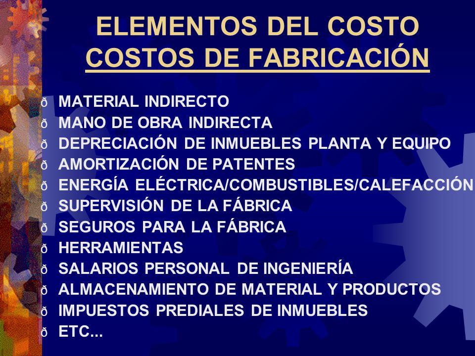 ELEMENTOS DEL COSTO COSTOS DE FABRICACIÓN