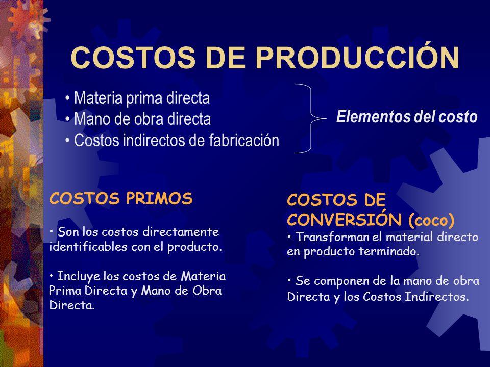 COSTOS DE PRODUCCIÓN Materia prima directa Mano de obra directa