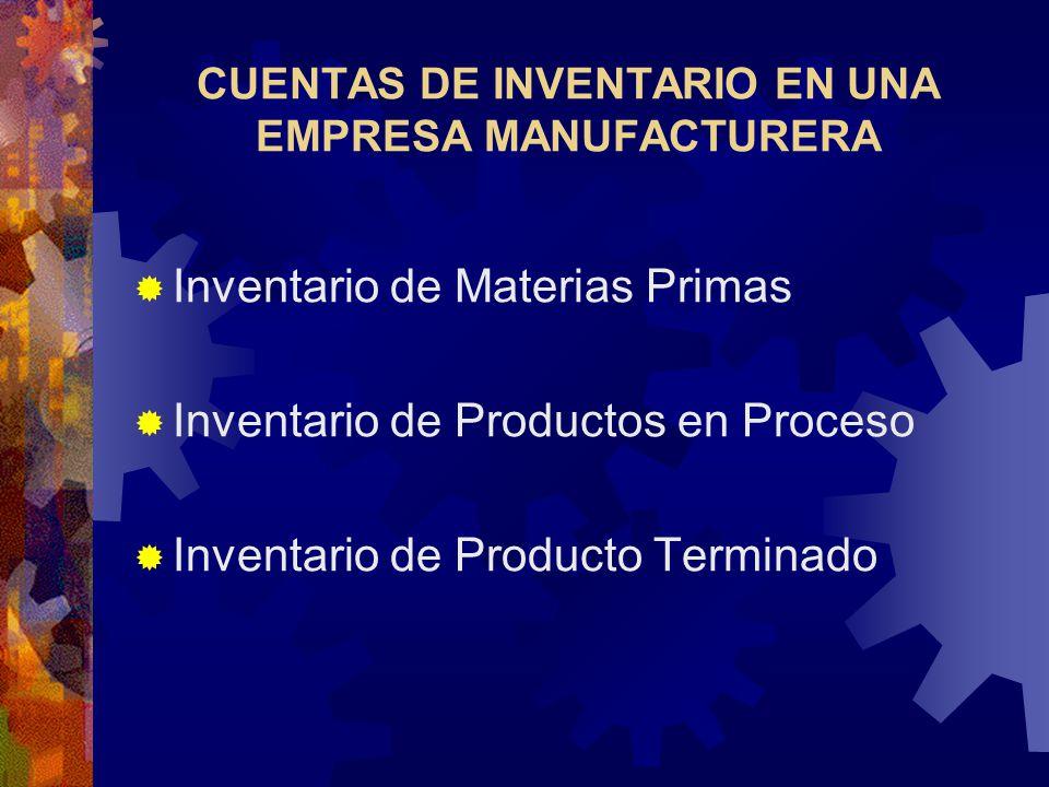 CUENTAS DE INVENTARIO EN UNA EMPRESA MANUFACTURERA
