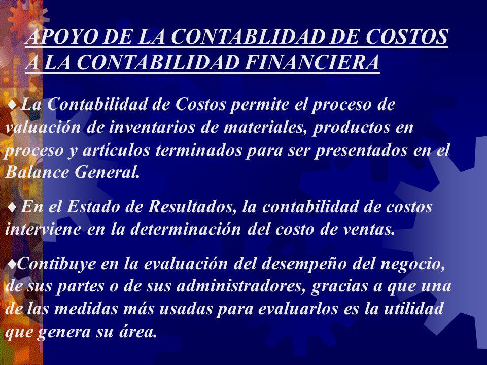 APOYO DE LA CONTABLIDAD DE COSTOS A LA CONTABILIDAD FINANCIERA
