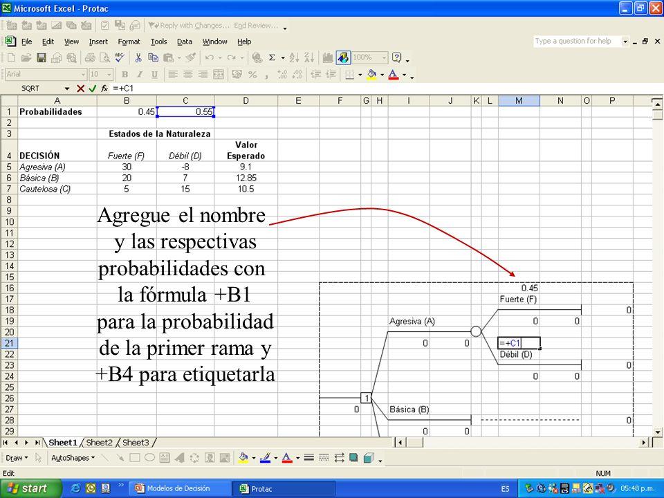 Agregue el nombrey las respectivas. probabilidades con. la fórmula +B1. para la probabilidad. de la primer rama y.