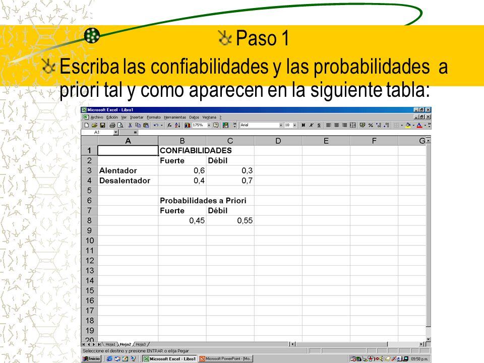 Paso 1 Escriba las confiabilidades y las probabilidades a priori tal y como aparecen en la siguiente tabla: