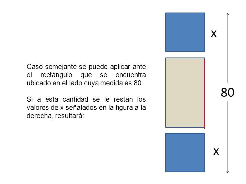 x Caso semejante se puede aplicar ante el rectángulo que se encuentra ubicado en el lado cuya medida es 80.