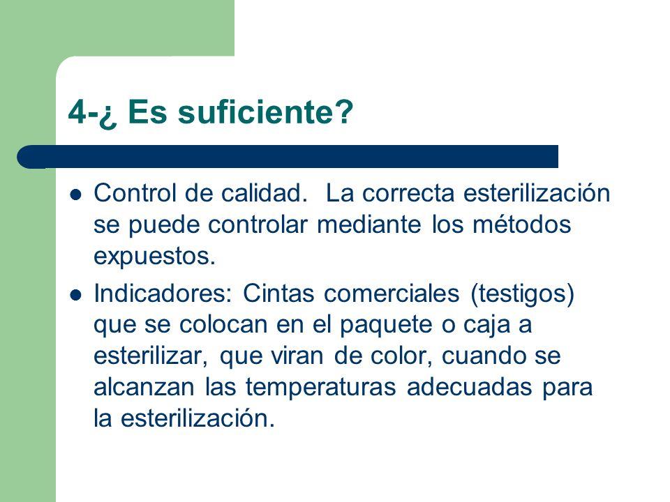 4-¿ Es suficiente Control de calidad. La correcta esterilización se puede controlar mediante los métodos expuestos.