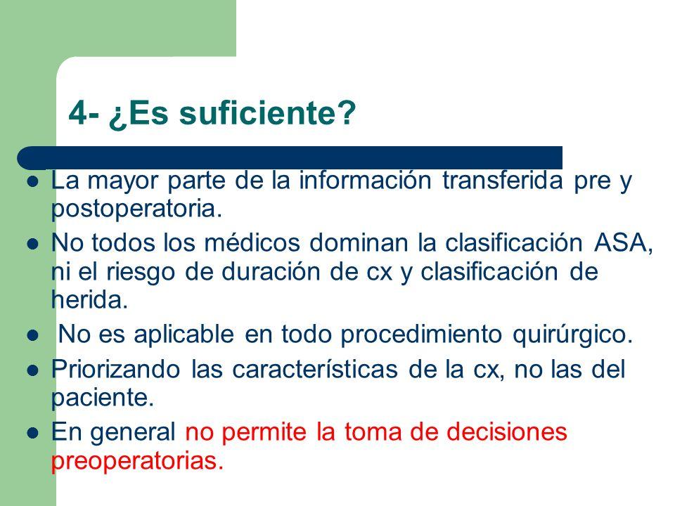 4- ¿Es suficiente La mayor parte de la información transferida pre y postoperatoria.