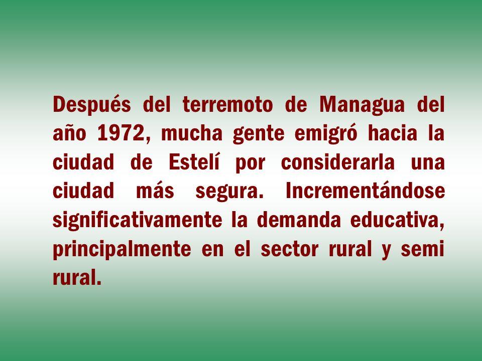 Después del terremoto de Managua del año 1972, mucha gente emigró hacia la ciudad de Estelí por considerarla una ciudad más segura.