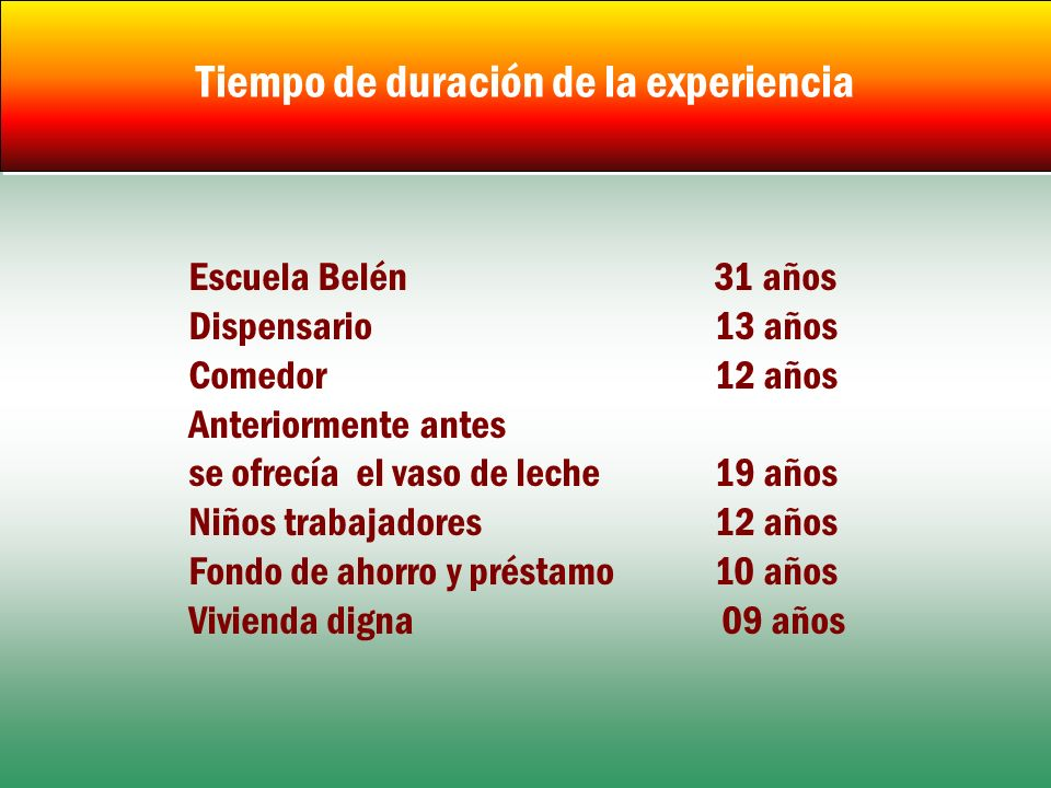 Tiempo de duración de la experiencia