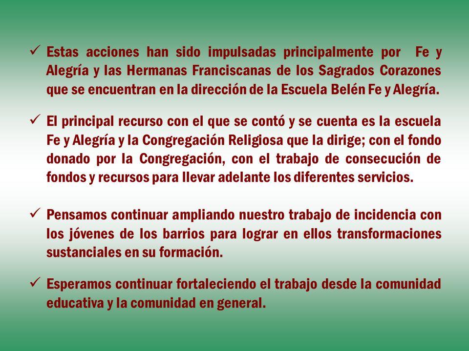 Estas acciones han sido impulsadas principalmente por Fe y Alegría y las Hermanas Franciscanas de los Sagrados Corazones que se encuentran en la dirección de la Escuela Belén Fe y Alegría.