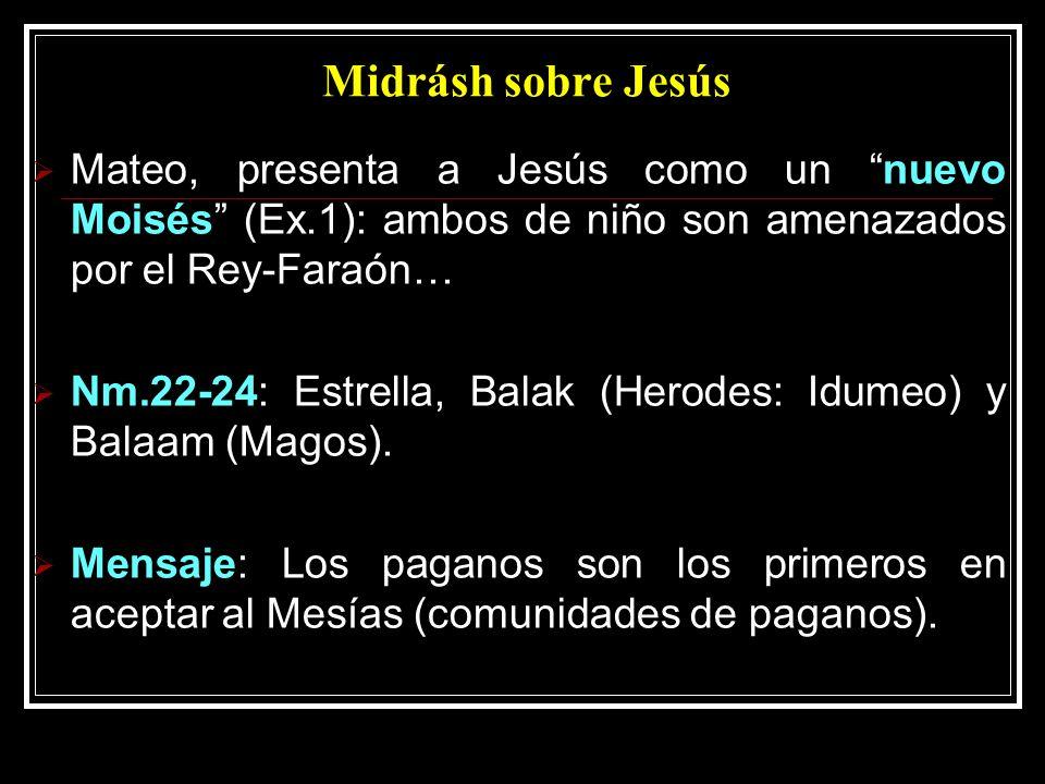 Midrásh sobre Jesús Mateo, presenta a Jesús como un nuevo Moisés (Ex.1): ambos de niño son amenazados por el Rey-Faraón…