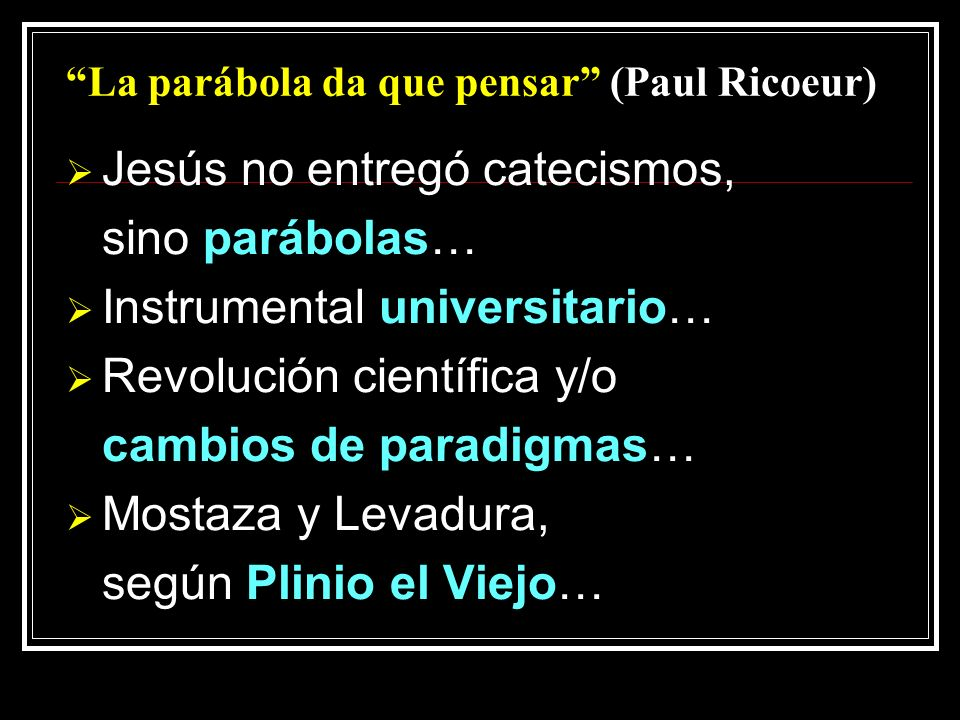 La parábola da que pensar (Paul Ricoeur)