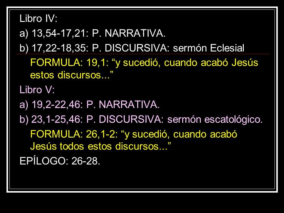 Libro IV: a) 13,54-17,21: P. NARRATIVA. b) 17,22-18,35: P. DISCURSIVA: sermón Eclesial.