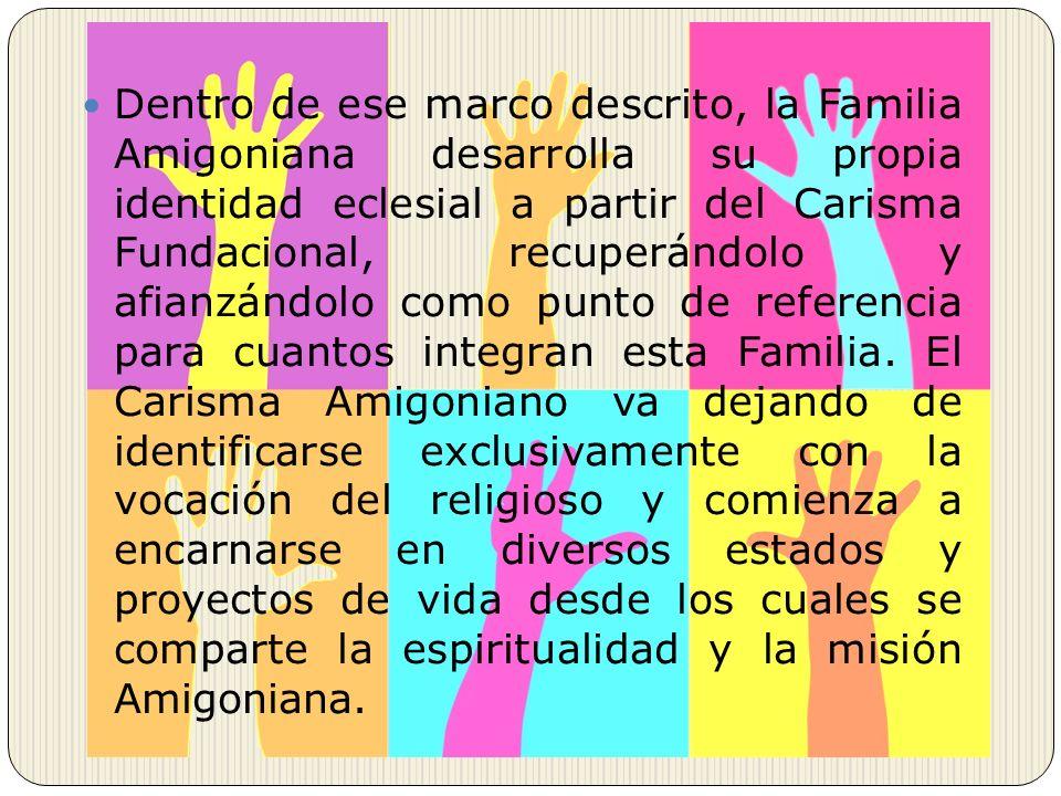 Dentro de ese marco descrito, la Familia Amigoniana desarrolla su propia identidad eclesial a partir del Carisma Fundacional, recuperándolo y afianzándolo como punto de referencia para cuantos integran esta Familia.