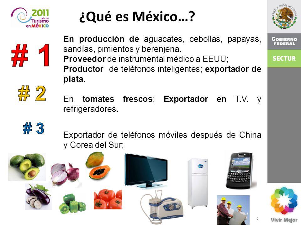 ¿Qué es México… En producción de aguacates, cebollas, papayas, sandías, pimientos y berenjena. Proveedor de instrumental médico a EEUU;