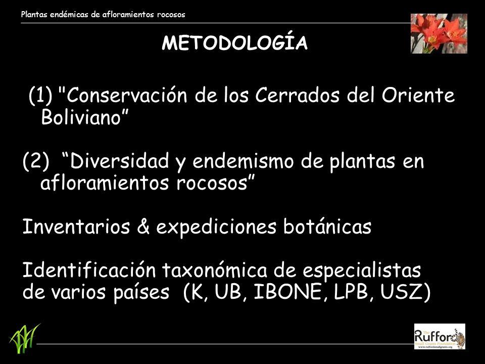 (1) Conservación de los Cerrados del Oriente Boliviano