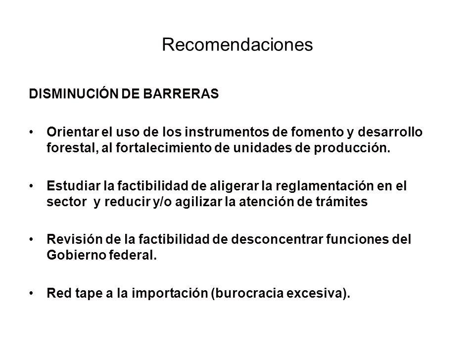 Recomendaciones DISMINUCIÓN DE BARRERAS