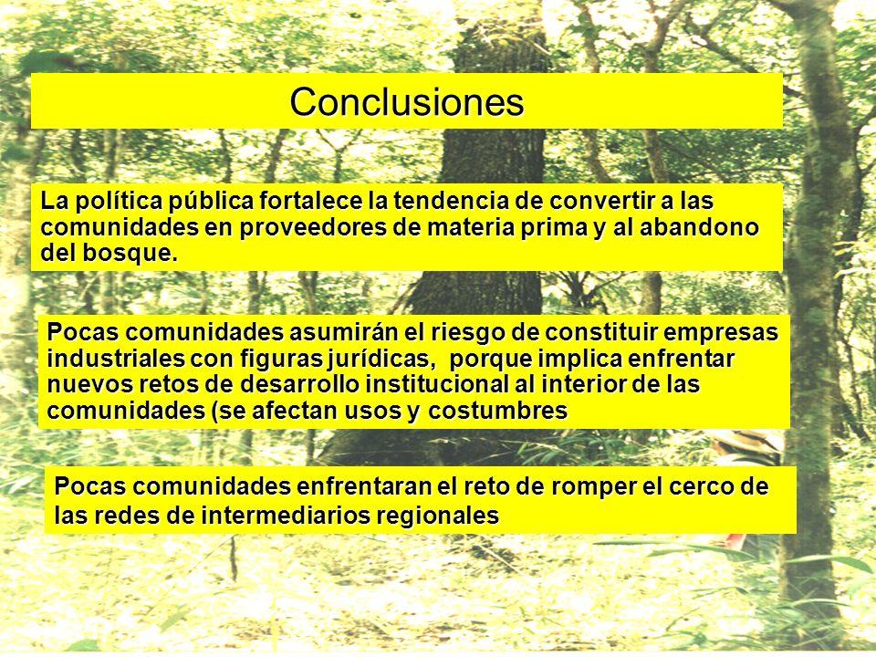 Conclusiones La política pública fortalece la tendencia de convertir a las comunidades en proveedores de materia prima y al abandono del bosque.