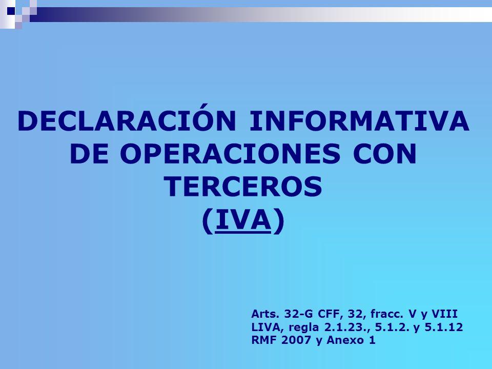 DECLARACIÓN INFORMATIVA DE OPERACIONES CON TERCEROS (IVA)