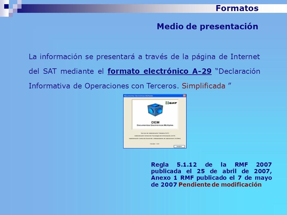 Formatos Medio de presentación