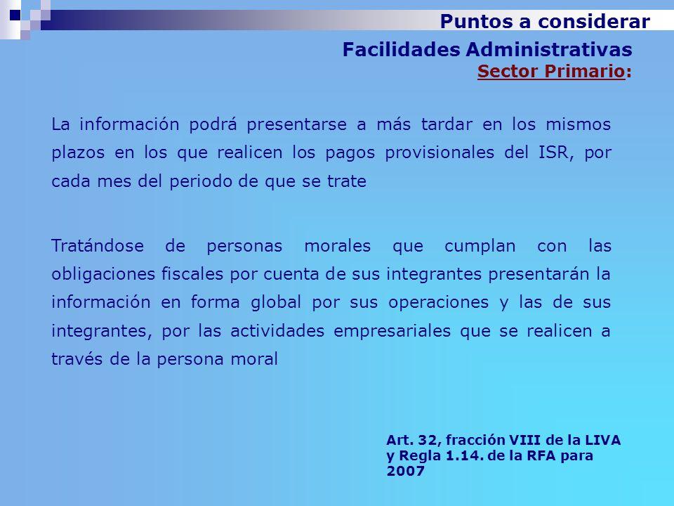 Facilidades Administrativas Sector Primario: